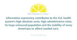 When healthcare is a lemon; Information asymmetry contributes to the U.S. health system's high absolute costs, high administrative costs, its large uninsured population and the inability of many Americans to afford needed care.