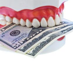 teeth model biting money